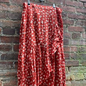 MADEWELL Red Floral Print Long Wrap Skirt